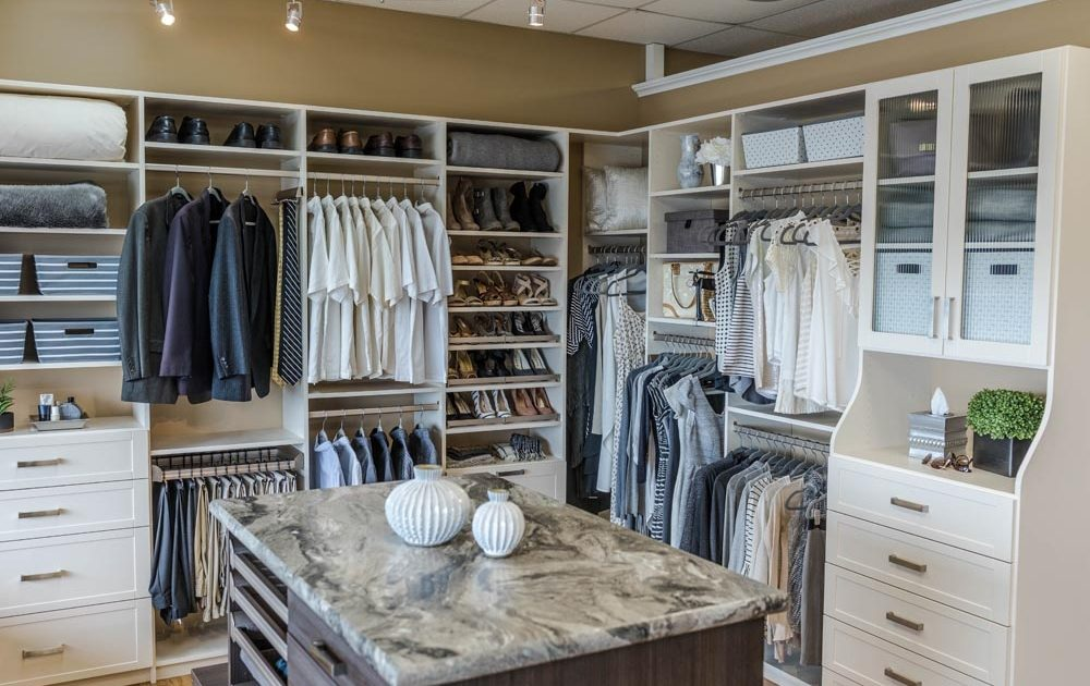 closet storage in showroom
