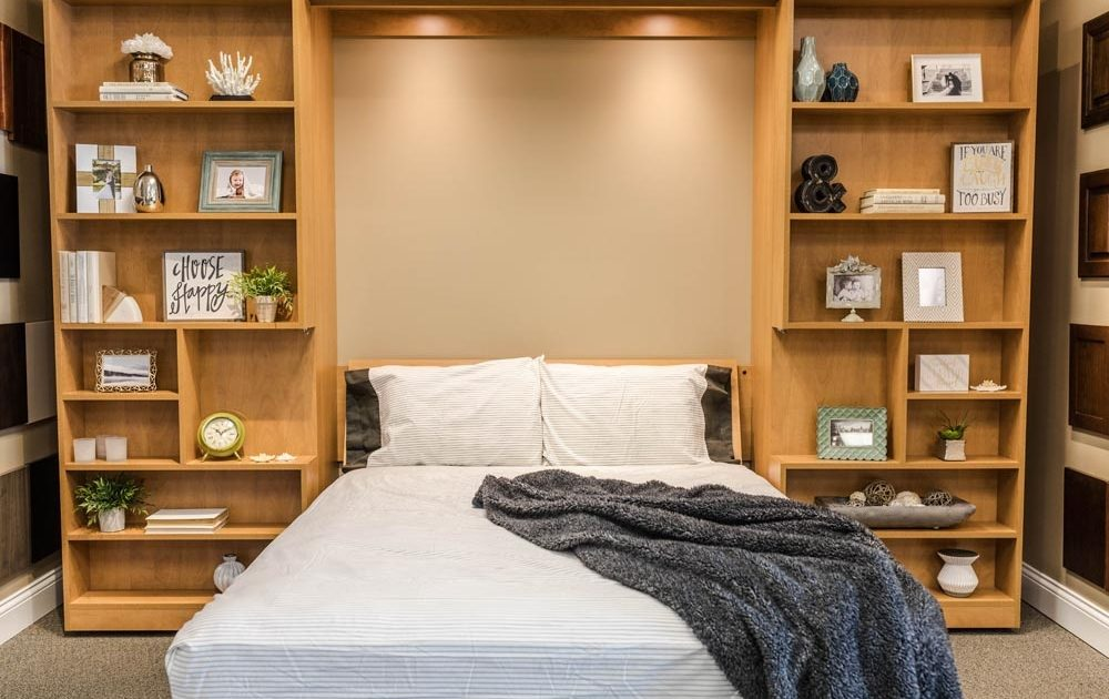 murphy bed with grey blanket