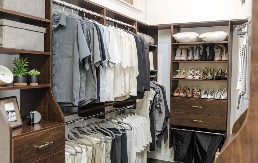 brown dark wood closet organization