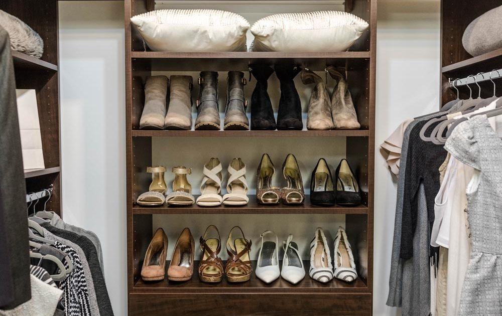 shoe rack inside a closet