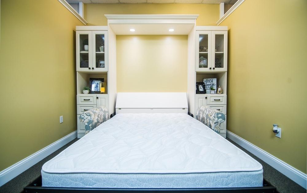 murphy bed close up with white shelves