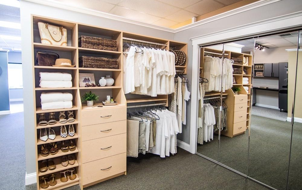 tan closet organization in showroom