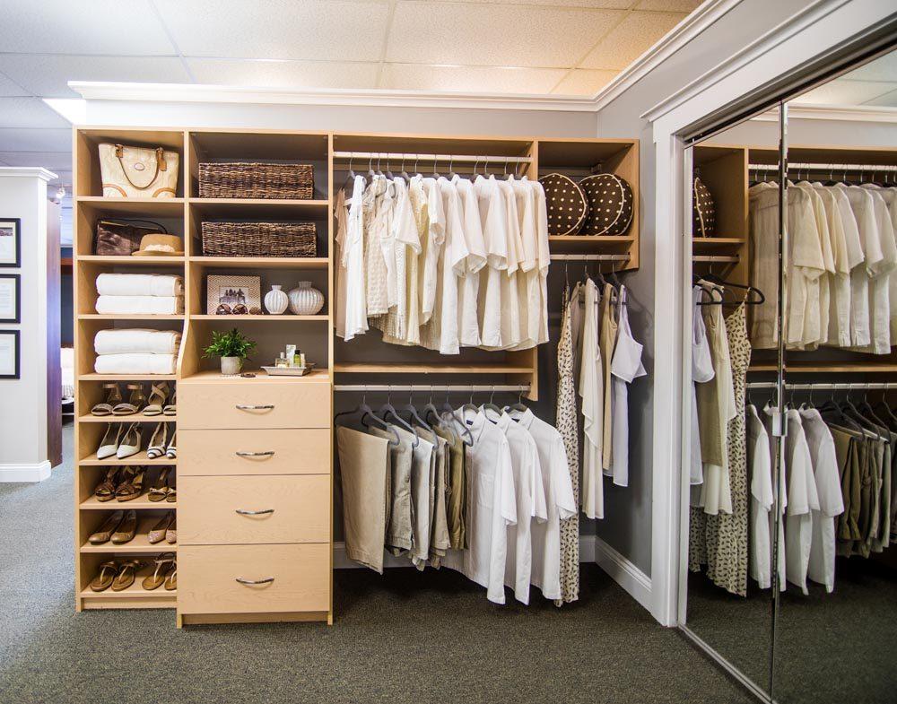 tan closet organization