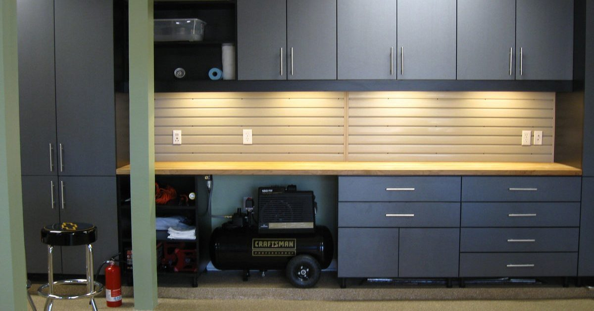 Beautifully Organized Garage with a Craftsman Air Compressor