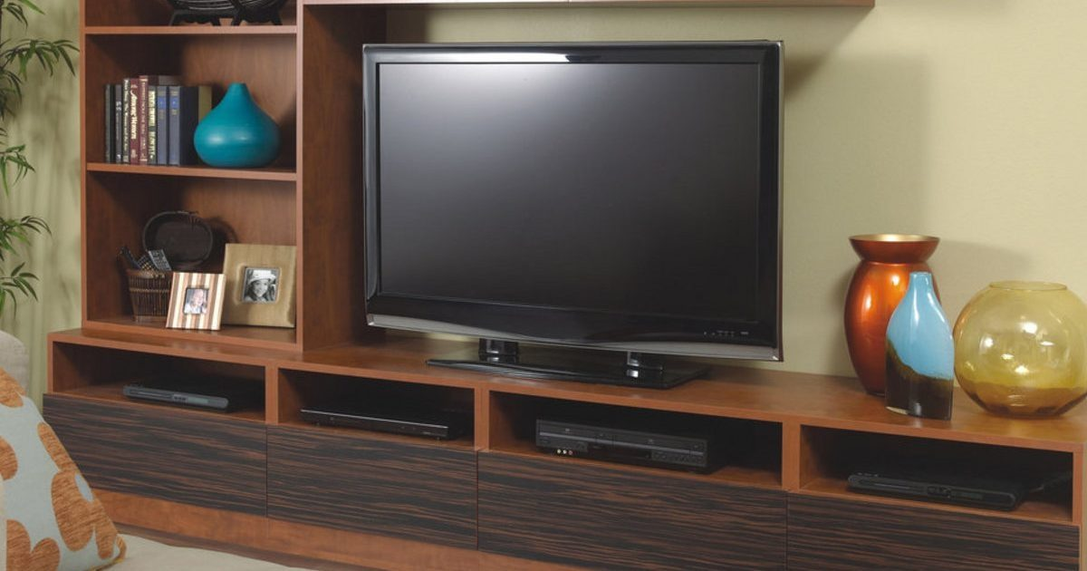 custom media center in wild cherry