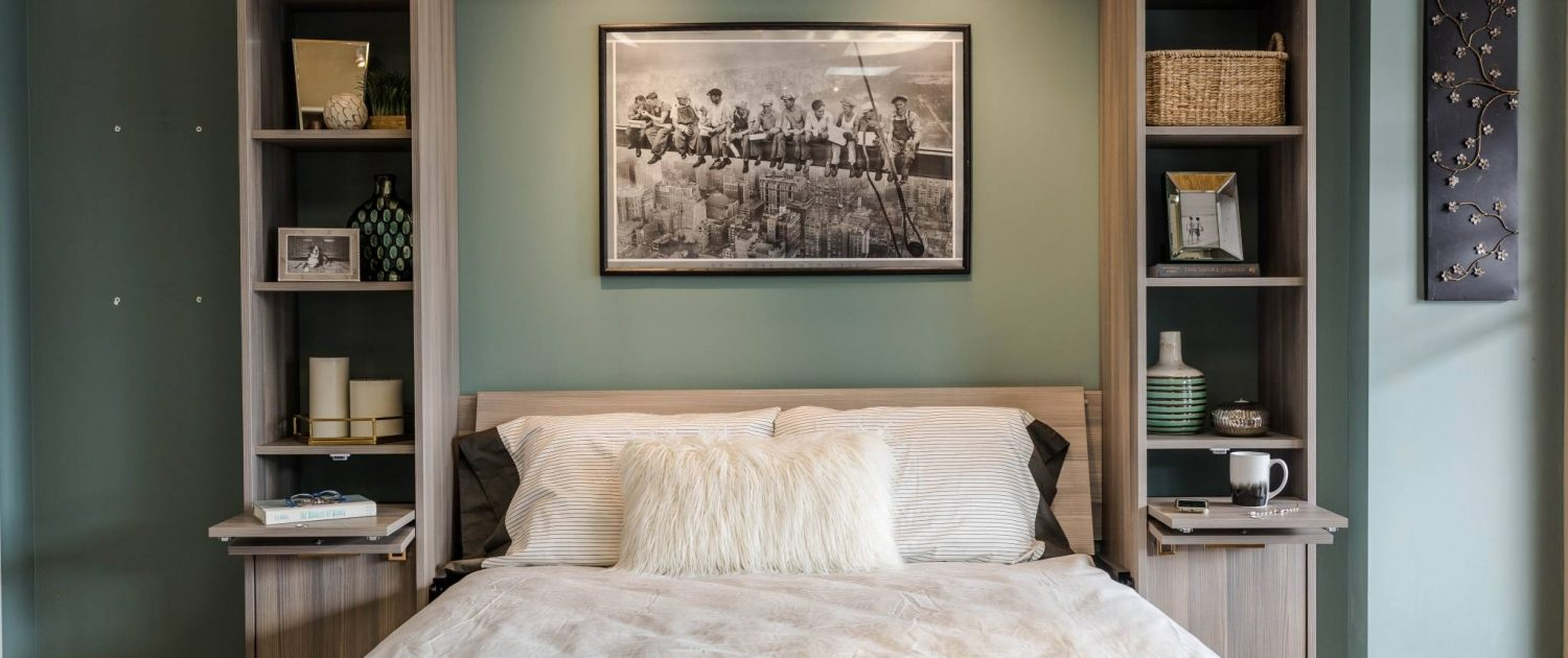 Blue Murphy Bed and Grey Shelves